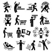 Taxpayer Income Tax Concept Stick Figure Pictogram Icon Cliparts — Wektor stockowy