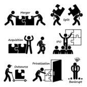 Corporate Company Business Concept Stick Figure Pictogram Icon Cliparts — Stock Vector
