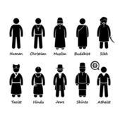Religion of People in the World Stick Figure Pictogram Icon Cliparts — Vetor de Stock
