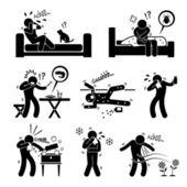 人間のスティック図の絵文字アイコンのクリップアートに動物性食品環境のアレルギー反応 — ストックベクタ