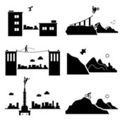 Extreme Sports - Parkour, Biking, Walking Wire, Wingsuit, Building Climber, Mountain Biking - Stick Figure Pictogram Icons Cliparts — Stock Vector