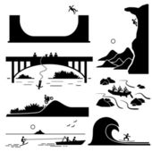 Extreme Sports - Skateboarding, Rock Climbing, Bungee Jumping, Motocross, White Water Rafting, Skurfing, Surfing - Stick Figure Pictogram Icons Cliparts — Stock Vector