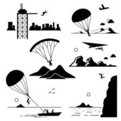 Extreme Sports - Base Jumping, Parachuting, Paragliding, Hang Gliding, Parasailing, Cliff Jump - Stick Figure Pictogram Icons Cliparts — Stock Vector
