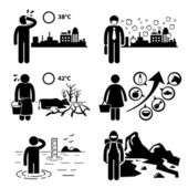 Global Warming Greenhouse Effects Stick Figure Pictogram Icons Cliparts — Vecteur