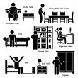 Home House Furniture Stick Figure Pictogram Icon Cliparts — Stockvektor  #47242717