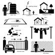 Home House Outdoor Structure Infrastructure and Fixtures Stick Figure Pictogram Icon Cliparts — Stock Vector #47242735