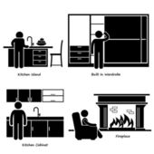 Home House Built-in Furniture Stick Figure Pictogram Icon Cliparts — Stock Vector