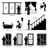 Home House Indoor Fixtures Stick Figure Pictogram Icon Cliparts — Stock Vector
