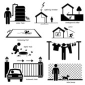 Home House Outdoor Structure Infrastructure and Fixtures Stick Figure Pictogram Icon Cliparts — Stock Vector