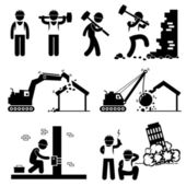 Demolition Worker Demolish Building Stick Figure Pictogram Icon Cliparts — Stock Vector