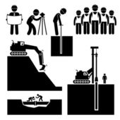 Construction Civil Engineering Earthworks Worker Stick Figure Pictogram Icon Cliparts — Stock Vector