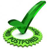 Etiqueta verde com texto 3d e a marca de seleção. parte de uma série. — Foto Stock