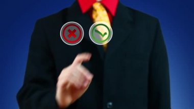 Businessman pushing button with Yes symbol — Stock Video