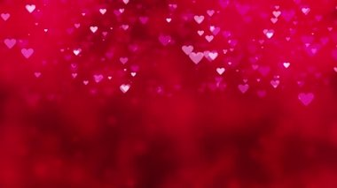 Bokeh background with falling red hearts — Stock Video