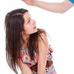Hand hitting teenage girl — Stock Photo #15704637