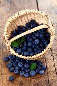 Blueberries in wooden basket — Stock Photo