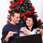 Рождественские покупки онлайн — Стоковое фото