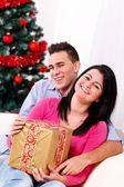 Happy Christmas couple — Foto de Stock