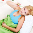 Sick woman with fever — Stock Photo