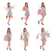 Happy woman shopping, collage — Stock Photo