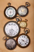 Six ancient pocket watch — Stock Photo