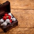 Tresure chest with Christmas decorations — Stock Photo