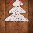 White wood rod Christmas tree wooden table — Stock Photo