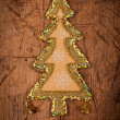 Christmas ornament on wooden table — Stock Photo