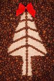 Symbol of Christmas tree on burlap — Stock Photo