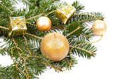 Fir twig with Christmas decoration — Stock Photo