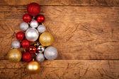 Christmas globes as a tree — Stock Photo