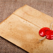 Closed envelope with sealing wax — Stock Photo