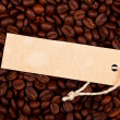 Price tag on coffe beans — Stock Photo
