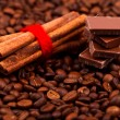 Stock Photo: Cinnamon sticks with chocolate on coffee