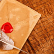 Envelope with sealing wax — Stock Photo
