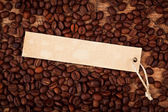 Label on coffee beans — Stock Photo