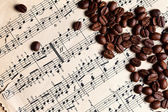 Music and coffe beans — Photo