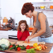 Mother and daughter in the kitchen — Stock Photo #7008083