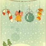 Christmas retro postcard — Stock Vector