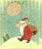 Christmas cards with Santa and text Happy New Year — Stok Vektör