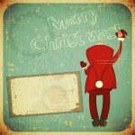 Christmas Retro card with Santa Claus — Stock Vector