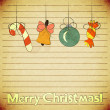 Christmas vintage postcard with toys and text Merry Christmas! — Stock Vector