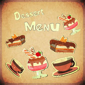 Vintage Cover Cafe or confectionery dessert Menu — Stock Vector