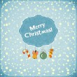 Christmas retro greeting Card with toys and text Merry Christmas — Stock Vector