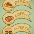 Stock Vector: Retro fast food labels