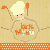 Design of kids menu with smiling chefs — Stock Vector