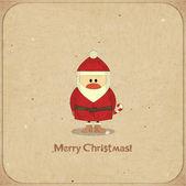 Tarjeta retro de feliz navidad con santa claus — Vector de stock