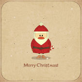 Merry christmas retro kartı noel baba ile — Stok Vektör
