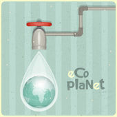 Eco water planet — Stock Vector