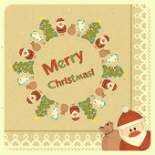 Merry retro Kerstkaart met santa claus — Stockvector